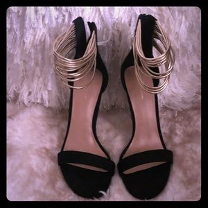 Call it Spring black and gold anklet pumps size 9